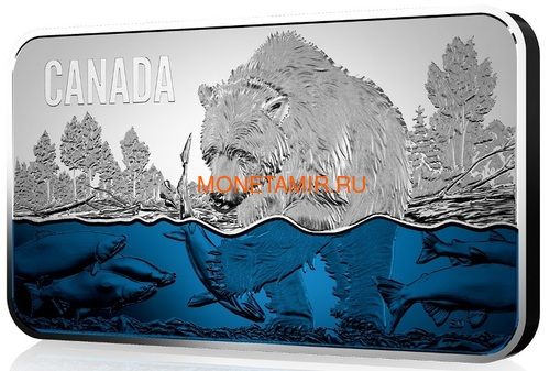 Канада 25 долларов 2018 Медведь Ловит Лосось (Canada 25$ 2018 Salmon Run Ultra High Relief Silver Coin).Арт.69 (фото, вид 1)