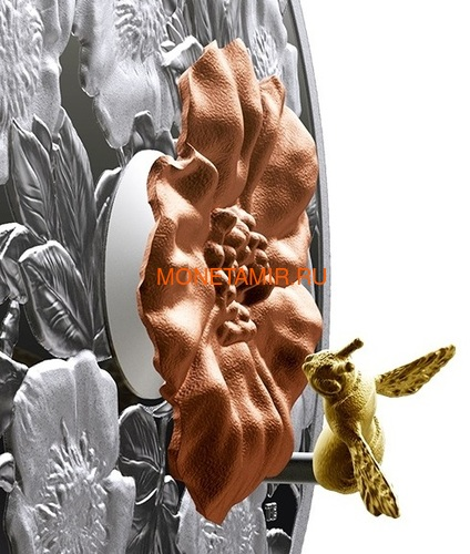 Канада 50 долларов 2019 Шмель Цветок Роза (Canada 50$ 2019 Bumble Bee and the Bloom Silver Coin 5oz).Арт.69 (фото, вид 2)
