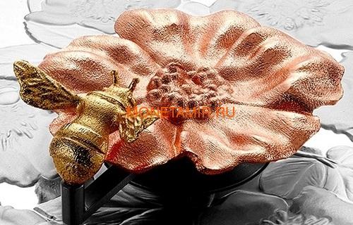 Канада 50 долларов 2019 Шмель Цветок Роза (Canada 50$ 2019 Bumble Bee and the Bloom Silver Coin 5oz).Арт.69 (фото, вид 4)