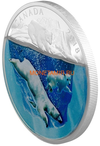 Канада 30 долларов 2018 Плавающий Белый Медведь Объемная Природа (Canada 30$ 2018 Dimensional Nature Polar Bears Silver Coin 2oz).Арт.69 (фото, вид 1)