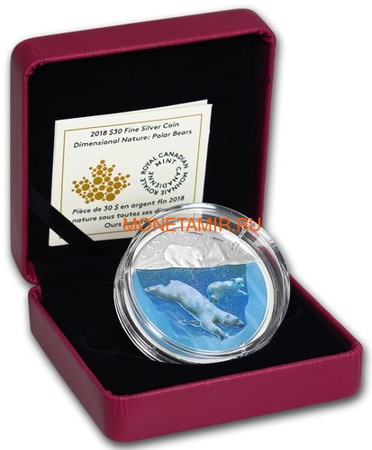 Канада 30 долларов 2018 Плавающий Белый Медведь Объемная Природа (Canada 30$ 2018 Dimensional Nature Polar Bears Silver Coin 2oz).Арт.69 (фото, вид 2)