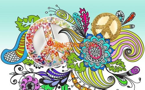 Палау 5 долларов 2018 Лето Любви (Palau 5$ 2018 Summer of Love 1Oz Silver Coin).Арт.67 (фото, вид 1)