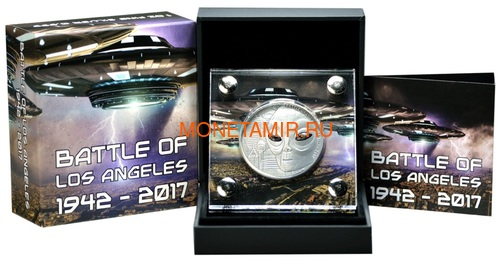 Буркина Фасо 1000 франков 2017 Битва за Лос-Анджелес НЛО (Burkina Faso 1000 Francs 2017 Battle of Los Angeles UFO Real Eye 1oz Silver Coin).Арт.000440754909 (фото, вид 2)