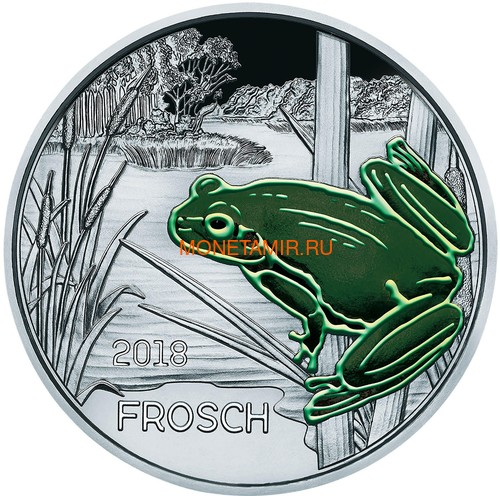 Австрия 3 евро 2018 Лягушка (Colourful Creatures The Frog Austria 3 euro 2018).Арт.68 (фото, вид 1)