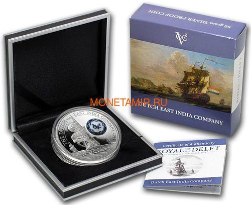 Острова Кука 10 долларов 2014 Голландская Ост-Индская Компания Фарфор Корабль (Cook Islands 10$ 2014 Royal Delft Dutch East India Company Ship Silver Coin).Арт.000946750062 (фото, вид 3)
