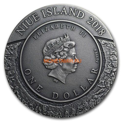Ниуэ 1 доллар 2018 Космическая Добывающая Станция Метеорит (Niue 1$ 2018 Space Mining Station 1Oz Silver Coin).Арт.60 (фото, вид 2)