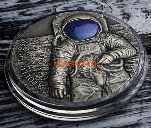 Камерун 3000 франков 2019 Аполлон 11 Луна (Cameroon 3000 Francs 2019 Apollo 11 Moon Landing 3 Oz Silver Coin).Арт.67 (фото, вид 1)