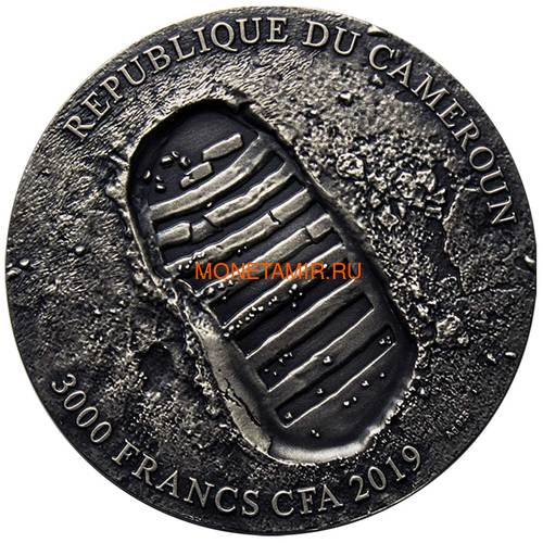 Камерун 3000 франков 2019 Аполлон 11 Луна (Cameroon 3000 Francs 2019 Apollo 11 Moon Landing 3 Oz Silver Coin).Арт.67 (фото, вид 2)