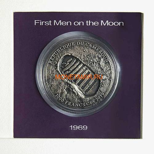 Камерун 3000 франков 2019 Аполлон 11 Луна (Cameroon 3000 Francs 2019 Apollo 11 Moon Landing 3 Oz Silver Coin).Арт.67 (фото, вид 3)
