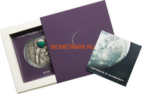 Камерун 3000 франков 2019 Аполлон 11 Луна (Cameroon 3000 Francs 2019 Apollo 11 Moon Landing 3 Oz Silver Coin).Арт.67 (фото, вид 5)