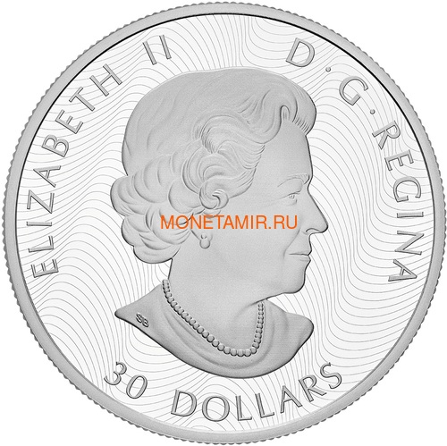 Канада 30 долларов 2019 Хитрый Волк (Canada 30$ 2019 Wily Wolf 2 Oz Silver Coin).Арт.67 (фото, вид 1)