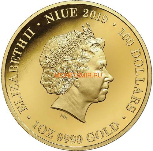 Австралия 100 долларов 2019 Ночная Австралия Утконос (Australia 100$ 2019 Australia at Night Platypus 1oz Gold Proof Coin).Арт.67 (фото, вид 2)