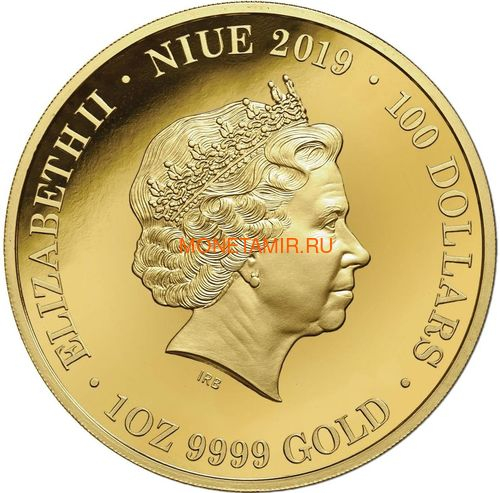 Ниуэ 100 долларов 2019 Ночная Австралия Утконос (Niue 100$ 2019 Australia at Night Platypus 1oz Gold Proof Coin).Арт.67 (фото, вид 2)