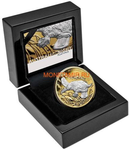 Ниуэ 100 долларов 2019 Ночная Австралия Утконос (Niue 100$ 2019 Australia at Night Platypus 1oz Gold Proof Coin).Арт.67 (фото, вид 3)
