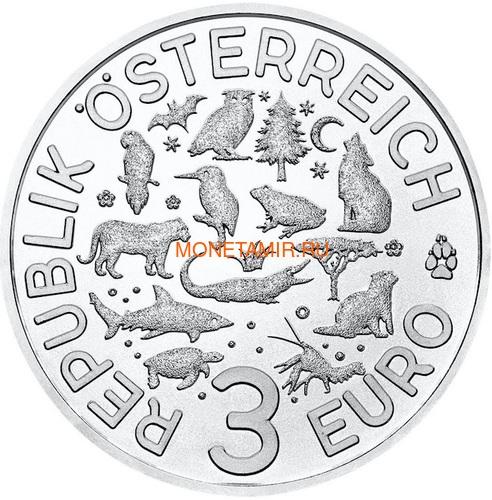 Австрия 3 евро 2019 Черепаха (Colourful Creatures The Turtle Austria 3 euro 2019).Арт.67 (фото, вид 2)