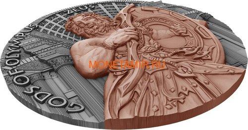 Ниуэ 5 долларов 2017 Боги Олимпа Зевс (Niue 2017 5$ Gods of Olympus Zeus 2 oz Antique Finish Silver Coin).Арт.67 (фото, вид 2)