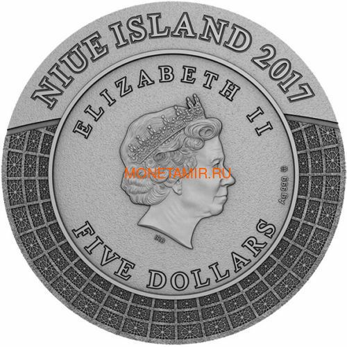 Ниуэ 5 долларов 2017 Боги Олимпа Зевс (Niue 2017 5$ Gods of Olympus Zeus 2 oz Antique Finish Silver Coin).Арт.67 (фото, вид 3)