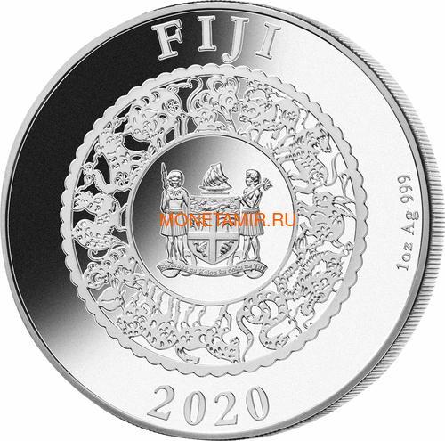 Фиджи 10 долларов 2020 Год Крысы Лунный Календарь Жемчужина (Fiji 10$ 2020 Lunar Rat Pearl 1 Oz Silver Coin).Арт.67 (фото, вид 2)