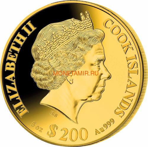 Острова Кука 200 долларов 2020 Год Крысы Лунный Календарь Перламутр (Cook Isl 2020 200$ Year of the Rat Mother of Pearl 5Oz Gold Coin Proof).Арт.92 (фото, вид 1)