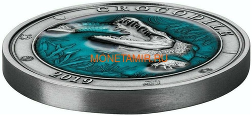 Барбадос 5 долларов 2019 Крокодил Подводный Мир (Barbados 5$ 2019 Crocodile Underwater World 3oz Silver).Арт.67 (фото, вид 1)