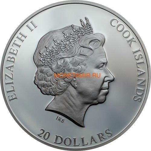 Острова Кука 20 долларов 2019 Высадка на Луну 50 лет Аполлон 11 Космос (Cook Islands 20$ 2019 Apollo 11 Moon Landing 50th Anniversary 3 Oz Silver Coin).Арт.67 (фото, вид 3)