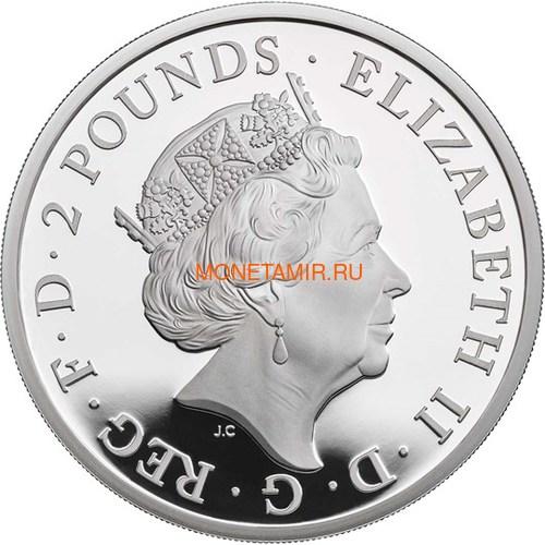 Великобритания 2 фунта 2019 Йейл Бофорт серия Звери Королевы (GB 2£ 2019 Queen's Beast Yale of Beaufort Silver Coin).Арт.67 (фото, вид 1)