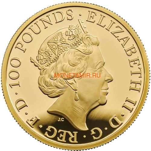 Великобритания 100 фунтов 2019 Йейл Бофорт серия Звери Королевы (GB 100£ 2019 Queen's Beast Yale of Beaufort Gold Coin).Арт.67 (фото, вид 1)