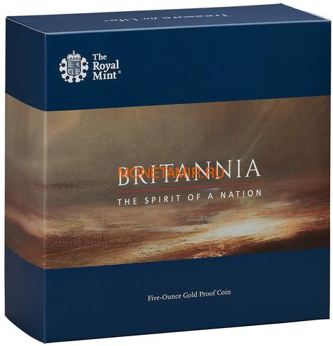 Великобритания 500 фунтов 2019 Британия (GB 500£ 2019 Britannia 5 Oz Gold Proof Coin).Арт.67 (фото, вид 3)