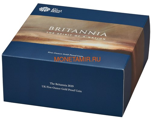 Великобритания 500 фунтов 2019 Британия (GB 500£ 2019 Britannia 5 Oz Gold Proof Coin).Арт.67 (фото, вид 4)