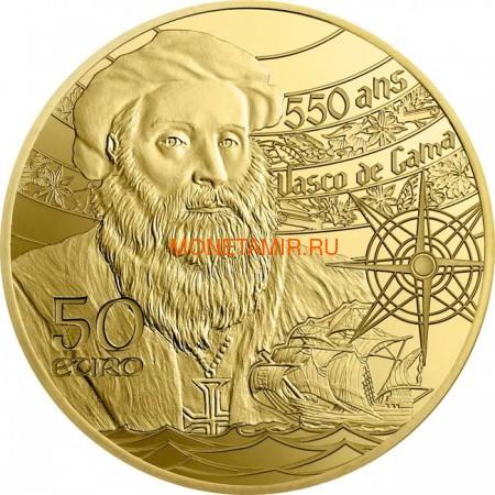 Франция 50 евро 2019 Башня Белем Васко де Гама Корабль (France 50E 2019 Tower Belem Vasco de Gama Gold Proof Coin).Арт.67 (фото, вид 1)