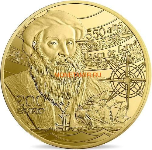 Франция 200 евро 2019 Башня Белем Васко де Гама Корабль (France 200E 2019 Tower Belem Vasco de Gama Gold Proof Coin).Арт.67 (фото, вид 1)