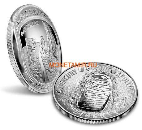 Соединенные Штаты Америки 1 доллар 2019 Высадка на Луну 50 лет Аполлон 11 Космос (2019 USA 1$ Apollo 11 Moon Landing 50th Anniversary Silver Coin Proof).Арт.002067855894/67 (фото, вид 2)