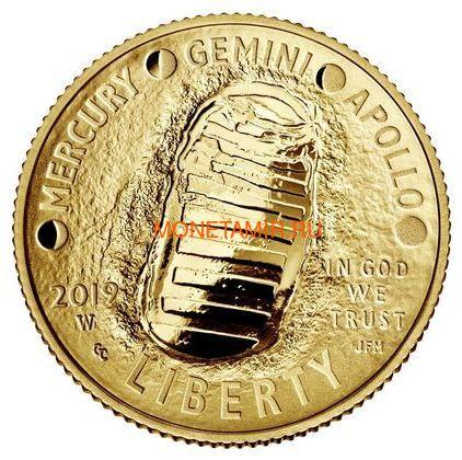 Соединенные Штаты Америки 5 долларов 2019 Высадка на Луну 50 лет Аполлон 11 Космос (2019 USA 5$ Apollo 11 Moon Landing 50th Anniversary Gold Coin Proof).Арт.002067855894/67 (фото, вид 1)
