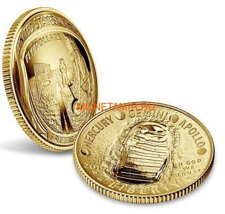 Соединенные Штаты Америки 5 долларов 2019 Высадка на Луну 50 лет Аполлон 11 Космос (2019 USA 5$ Apollo 11 Moon Landing 50th Anniversary Gold Coin Proof).Арт.002067855894/67 (фото, вид 2)