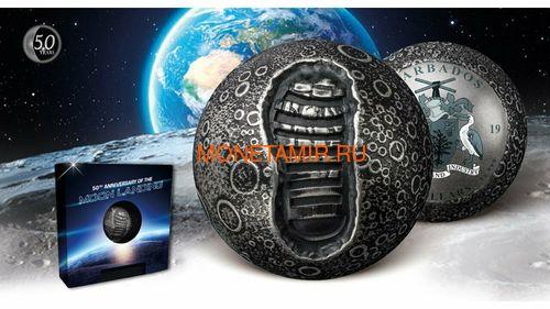 Барбадос 5 долларов 2019 Высадка на Луну 50 лет Космос Шар (Barbados 5$ 2019 Moon Landing 50th Anniversary 1 Oz Silver Coin Spherical).Арт.67 (фото, вид 8)