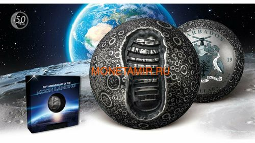 Барбадос 5 долларов 2019 Высадка на Луну 50 лет Космос Шар (Barbados 5$ 2019 Moon Landing 50th Anniversary 1 Oz Silver Coin Spherical).Арт.E82 (фото, вид 8)