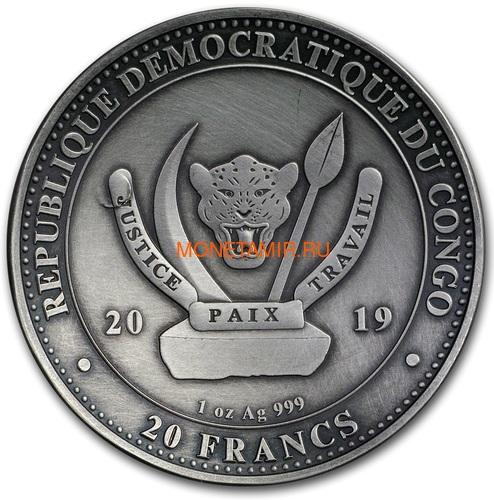 Конго 20 франков 2019 Высадка на Луну 50 лет Выпуклая Космос (Congo 20 Francs 2019 Moon Landing 50th Anniversary 1 oz Silver Domed Coin).Арт.67 (фото, вид 2)