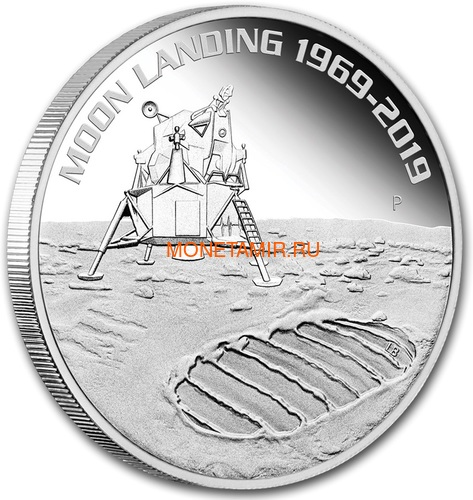 Австралия 1 доллар 2019 Высадка на Луну 50 лет Выпуклая Космос (Australia 1$ 2019 Moon Landing 50th Anniversary 1 oz Silver Coin).Арт.67 (фото, вид 1)