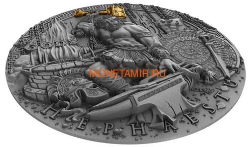 Ниуэ 2 доллара 2019 Гефест Бог Кузнецов (Niue 2019 2$ Hephaestus God of Blacksmiths Gods 2 oz Antique Finish Silver Coin).Арт.67 (фото, вид 1)