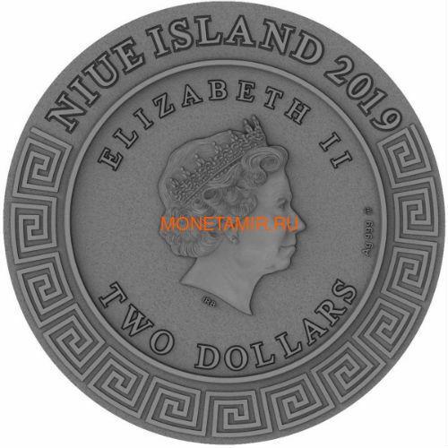 Ниуэ 2 доллара 2019 Гефест Бог Кузнецов (Niue 2019 2$ Hephaestus God of Blacksmiths Gods 2 oz Antique Finish Silver Coin).Арт.67 (фото, вид 2)