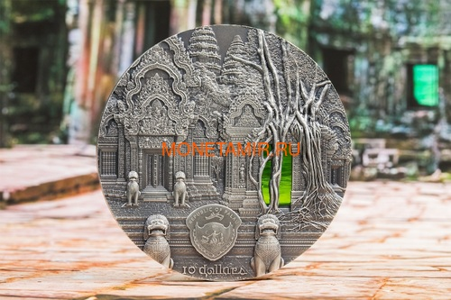 Палау 10 долларов 2019 Ангкор Кхмерская Архитектура серия Тиффани (Palau 10$ 2019 Angkor Tiffany Art 2 oz Silver Coin).Арт.67 (фото, вид 4)