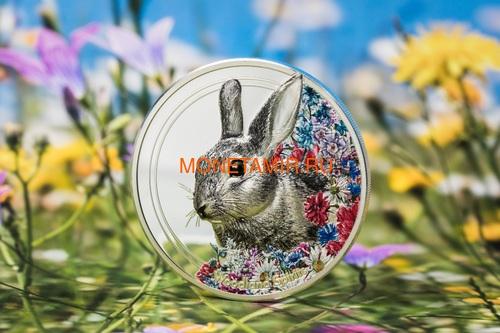 Монголия 500 Тугриков 2019 Заяц серия Woodland Spirits (Mongolia 500T 2019 Woodland Spirits Rabbit 1 oz Silver Coin).Арт.000392857126/65 (фото, вид 2)
