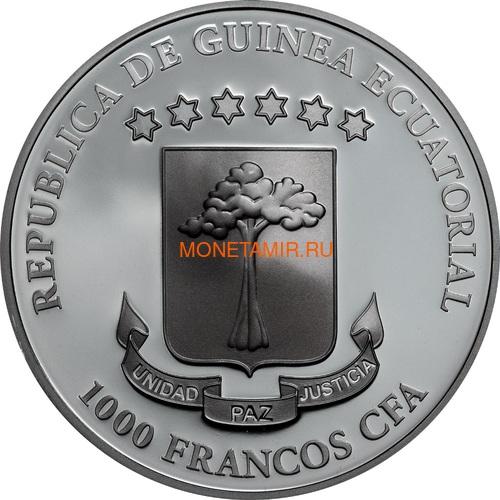 Экваториальная Гвинея 1000 франков 2019 Хрустальный Череп Кровавая Луна Корабль (Equatorial Guinea 1000 Francos CFA Crystal Skull Luna de Sangre Swarovski 1 oz Silver Coin).Арт.67 (фото, вид 1)