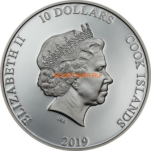Острова Кука 10 долларов 2019 Якорь (Cook Islands 10$ 2019 Anchor Fair Winds 2 oz Silver Coins).Арт.67 (фото, вид 1)