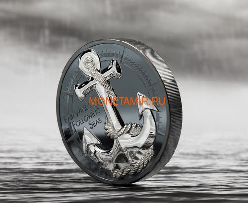 Острова Кука 10 долларов 2019 Якорь (Cook Islands 10$ 2019 Anchor Fair Winds 2 oz Silver Coins).Арт.67 (фото, вид 2)