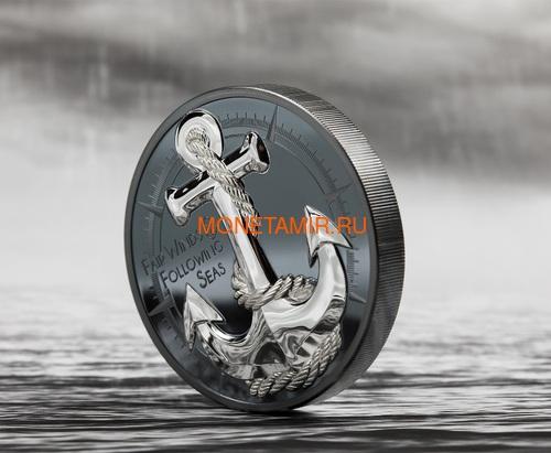 Острова Кука 10 долларов 2019 Якорь (Cook Islands 10$ 2019 Anchor Fair Winds 2 oz Silver Coins).Арт.67 (фото, вид 2)