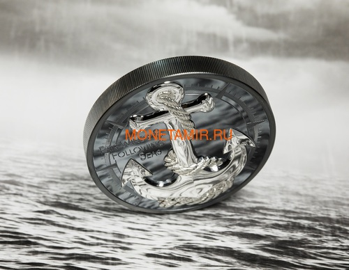 Острова Кука 10 долларов 2019 Якорь (Cook Islands 10$ 2019 Anchor Fair Winds 2 oz Silver Coins).Арт.67 (фото, вид 4)