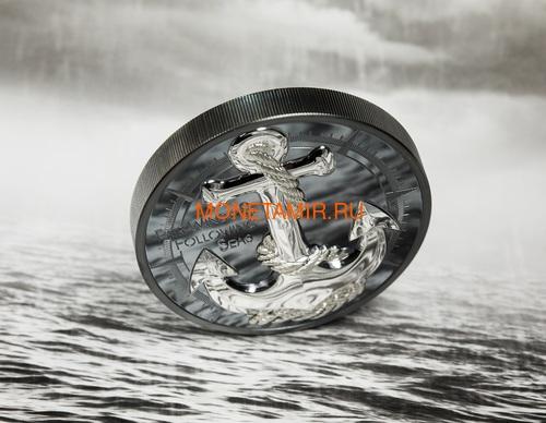 Острова Кука 10 долларов 2019 Якорь (Cook Islands 10$ 2019 Anchor Fair Winds 2 oz Silver Coins).Арт.67 (фото, вид 4)