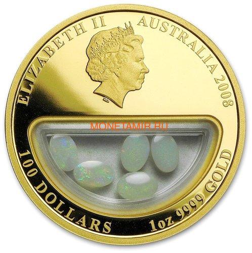 Австралия 100 долларов 2008 Сокровища Австралии Инкапсулированные Опалы (Australia 100$ 2008 Treasures of Australia Opals 1oz Gold Proof Coin).Арт.K3,5G (фото, вид 1)
