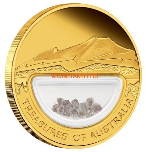 Австралия 100 долларов 2009 Сокровища Австралии Инкапсулированные Алмазы (Australia 100$ 2009 Treasures of Australia Diamonds 1oz Gold Proof Coin).Арт.K3,5G (фото, вид 1)